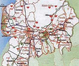 Část území Lancashire se zobrazením rozmístění first responderů